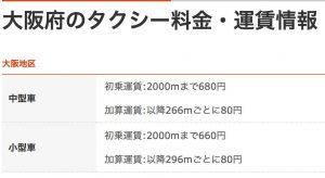大阪 タクシー 料金表 画像
